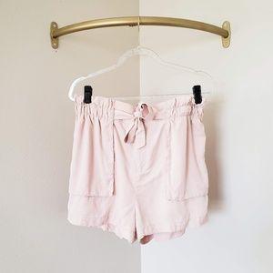 Socialite Blush Pink High Waist Paper Bag Shorts L